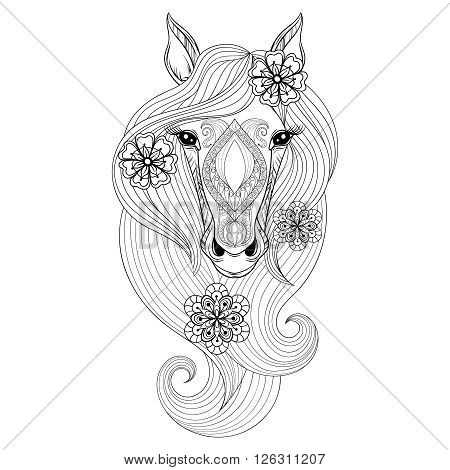Vector Horse. Coloring page with Horse face. Hand drawn patterned Horse head with flowers in hairs, artistically decorative Horse for adult anti stress colouring books. Zentangle  boho, henna tattoo