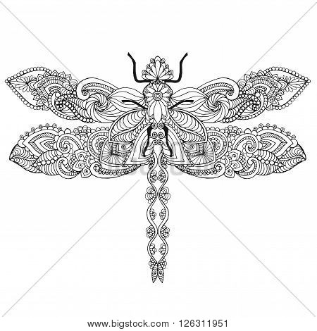 Ethnic patterned vector illustration. African, indian, totem, tribal, zentangle design. Sketch for adult coloring page, tattoo, posters, print or t-shirt.