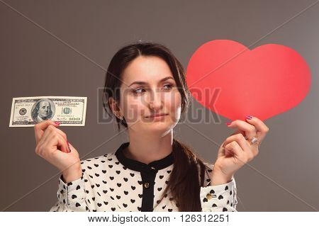 beautiful woman choosing between career and family between money and love