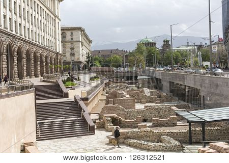 Sofia, Bulgaria - April  14, 2016: Archaeological Excavation Of The Roman Town Serdica In Downtown O