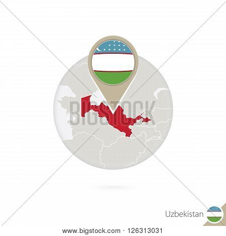 Uzbekistan Map And Flag In Circle. Map Of Uzbekistan, Uzbekistan Flag Pin. Map Of Uzbekistan In The