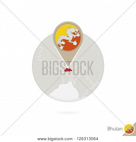 Bhutan Map And Flag In Circle. Map Of Bhutan, Bhutan Flag Pin. Map Of Bhutan In The Style Of The Glo