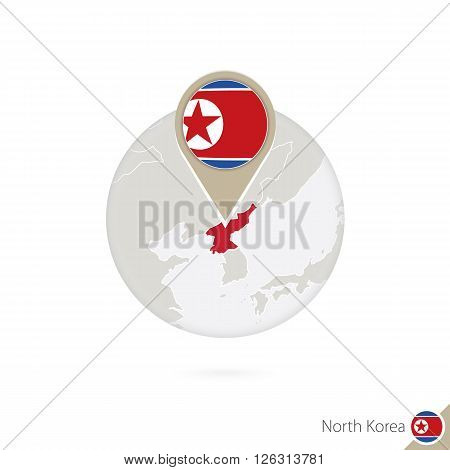 North Korea Map And Flag In Circle. Map Of North Korea, North Korea Flag Pin. Map Of North Korea In