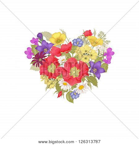 Illustration of St. Valentine's Day. Valentine heart. Vector design Valentine's Day. Template of flowers in a heart-shaped Valentine's Day. The unique message of Valentine's Day.