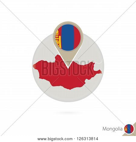 Mongolia Map And Flag In Circle. Map Of Mongolia, Mongolia Flag Pin. Map Of Mongolia In The Style Of