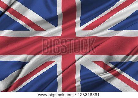 Flag of Great Britan waving in the wind.
