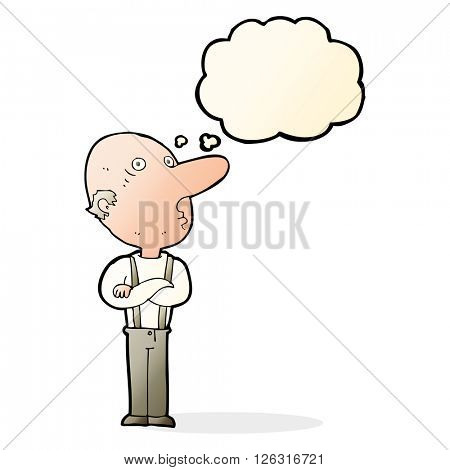 cartoon old man with folded arms with thought bubble