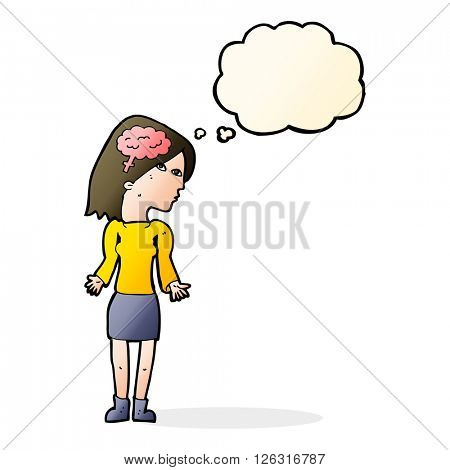 cartoon clever woman shrugging shoulders with thought bubble