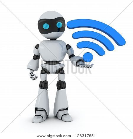 Robot and symbol Wi-Fi (done in 3d)