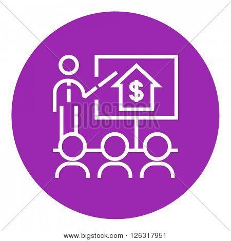 Real estate training line icon.