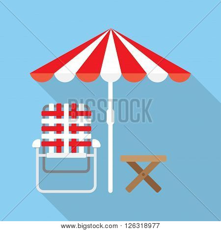Beach Umbrella and Lounger Beach - Vector icon