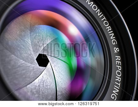 Digital Camera Lens with Monitoring and Reporting Concept. Monitoring and Reporting on Digital Camera Lens. Colorful Lens Flares. Selective Focus with Shallow Depth of Field. 3D Render.