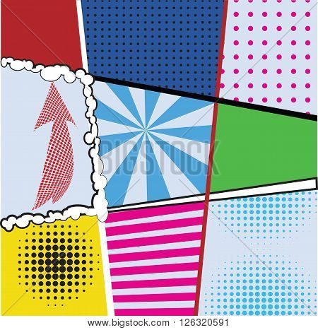 Pop art collection sets of nine bright backgrounds for design projects packaging tableware signage postcards. Comics pop-art style template with dots lines signs elements vector illustration