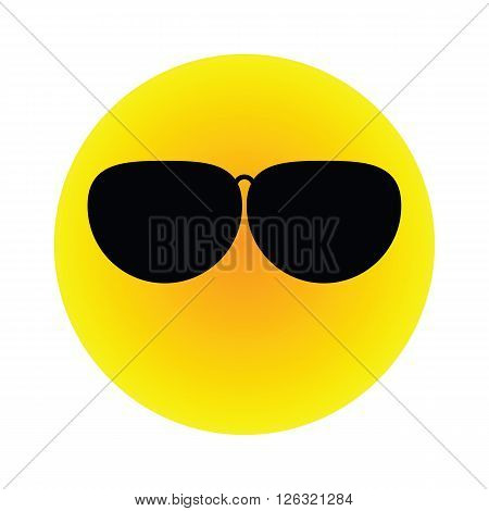 The yellow orange gradien sun wear black polarized sunglasses vector flat icon isolated on white background