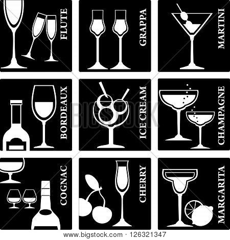 Set of Alcohol Drinks icons. Tumblers set for alcohol drinks cocktails and ice cream.