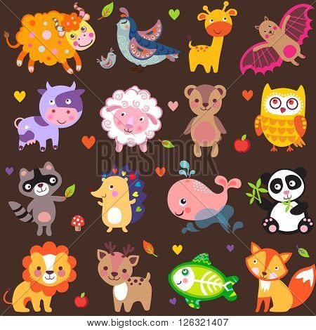 Vector illustration of cute animals: Yak quail giraffe vampire bat cow sheep bear owl raccoon hedgehog whale panda lion deer x-ray fish fox.