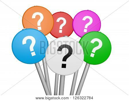 Business and customers questions concept with question mark symbol and icon on colorful sign 3D illustration isolated on white background.