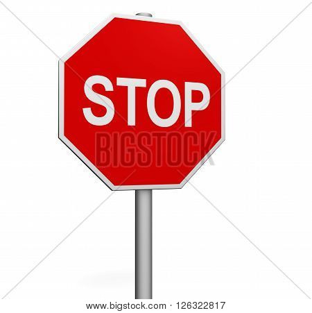 Stop road sign 3D illustration isolated on white background.