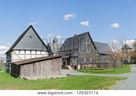NEU ANSPACH, GERMANY - APRIL 18, 2016: half timbered houses group with church