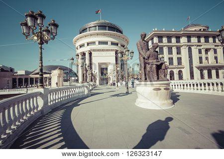SKOPJE MACEDONIA APRIL 16 2016: Archaeological museum in Skopje Macedonia.