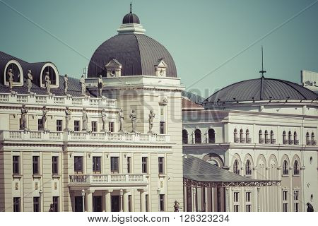 Traditional architecture in Skopje city in Macedonia