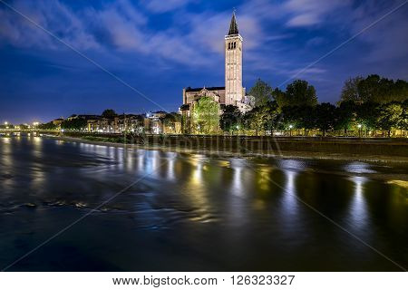Verona, Italy - May 01, 2015: Sant'Anastasia church in Verona Italy on the Adige river