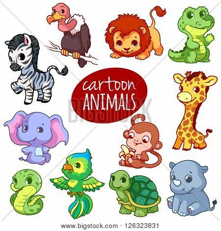 Cartoon african animals. Cute little animals isolated on a white background.