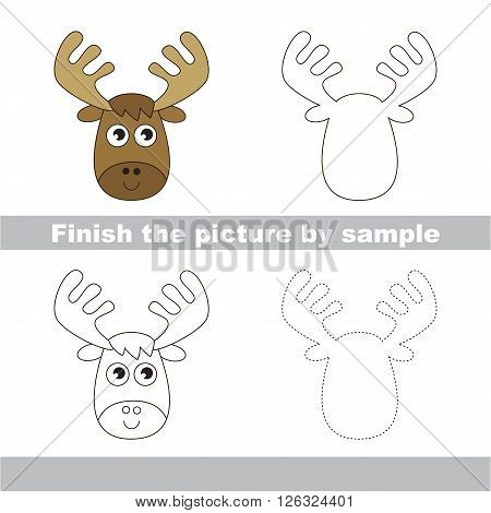 Drawing worksheet for children. Finish the picture and draw the cute Elk