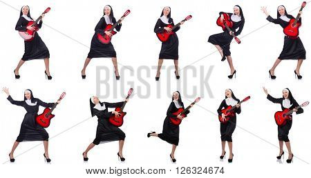 Nun with guitar isolated on white