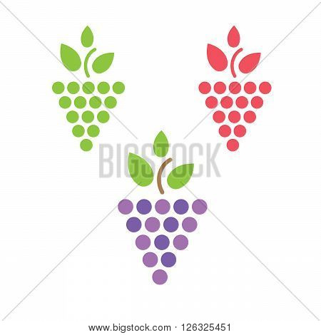 Grapes vector isolated. Grapes icon. Grapes logo. Grapes wine or grapes vine. Grapes with green leaf isolated. Nature grapes logotype. Wine or vine logo