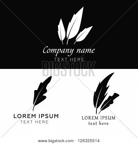 Feather vector logo templates. Feather sign, feather logo