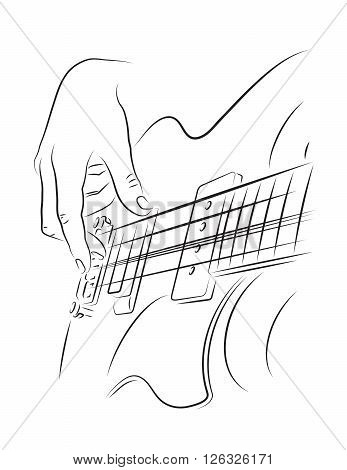 Playing bass line art illustration. Finger picking string.