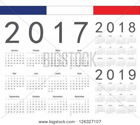 Set Of French 2017, 2018, 2019 Year Vector Calendars