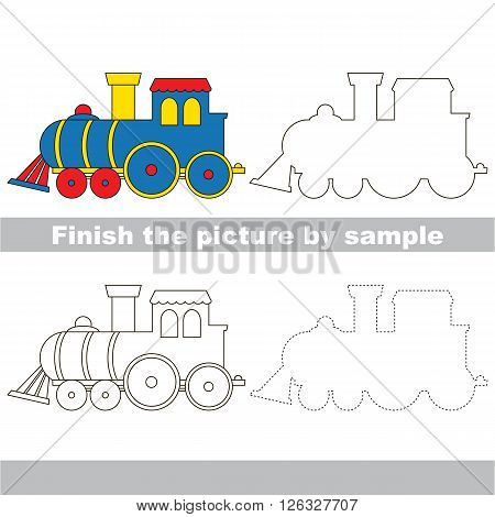 Drawing worksheet for children. Finish the picture and draw the cute Locomotive
