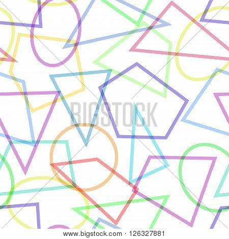 Simple seamless pattern with circles, triangles and polygons. Usable as web background. Vector illustration.