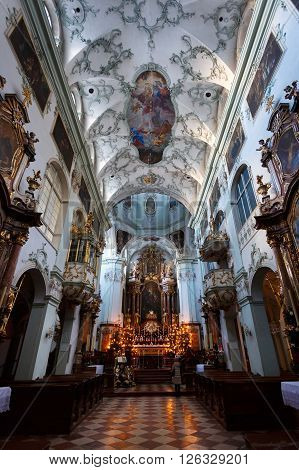 Salzburg Austria - January 07 2016: Interior of Salzburg Cathedral Church located on a Domeplatz in old town area of the city