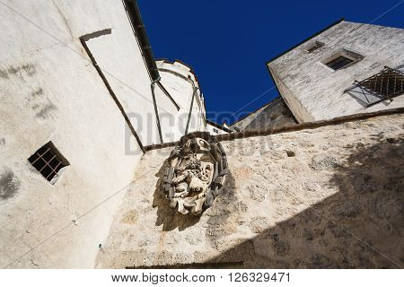 Salzburg, Austria - January 07 2016: The wall of the Hohensalzburg Castle in Salzburg Austria