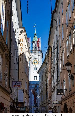 Salzburg Austria - January 07 2016: View of the tower of Cityhall from the narrow street
