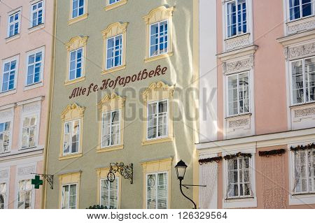 Salzburg Austria - January 07 2016: Facade of the oldest pharmacy located on Alter Markt square historic centre of the city