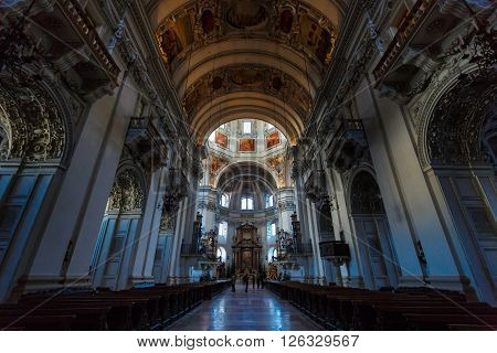 Salzburg Austria - January 07 2016: Tourists inside the Salzburg Cathedral Church