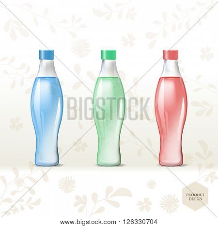 Mockup template for branding and product designs. Isolated realistic transparent bottles with unique design. Easy to use for advertising branding and marketing.