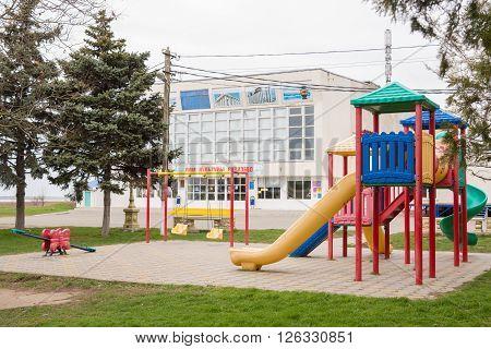 Vityazevo, Russia - March 18, 2016: Children's Playground Near The House Of Culture Of The Seasi