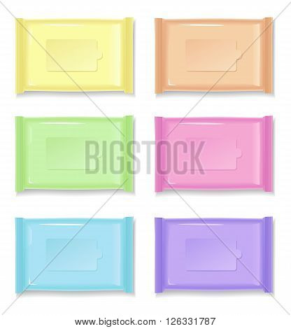 Set of color wet wipes package isolated on white background. Ready for your design. Vector illustration