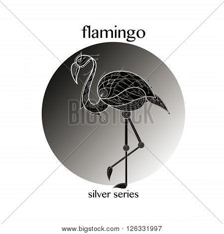 Bird flamingo. Vector illustration. The series of silver on black.