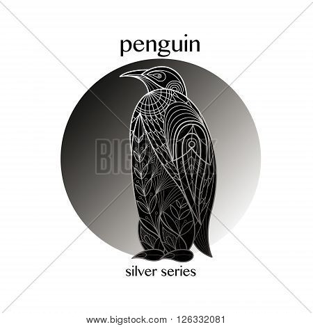 Bird Penguin. Vector illustration. The series of silver on black.