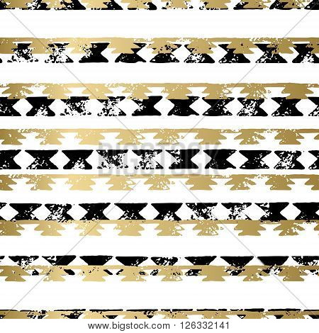 Gold and black abstract grunge vector geometric seamless background print. Stripped textured pattern for card, cover, invitation, wallpaper, web design, fabric, textile, clothes