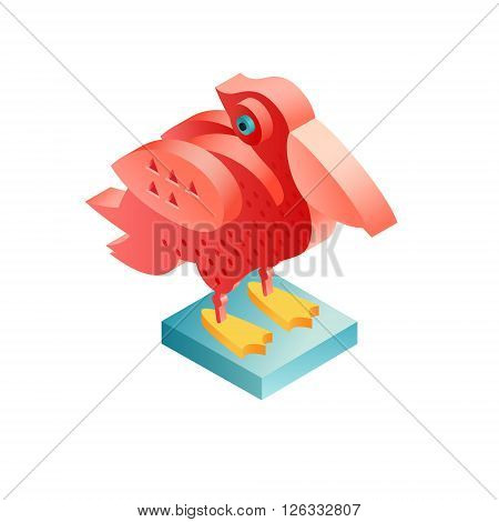 Bird pelican. Illustration isometric icon. The vector image of the animal in the original unusual style isolated on white background.