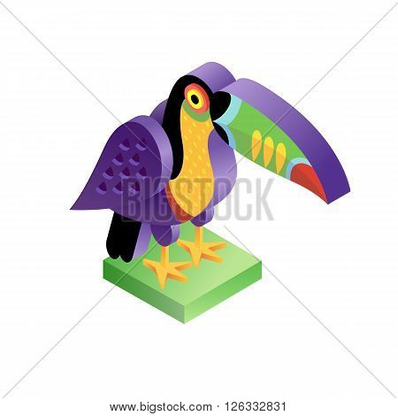 Bird toucan. Illustration isometric icon. The vector image of the animal in the original unusual style isolated on white background.