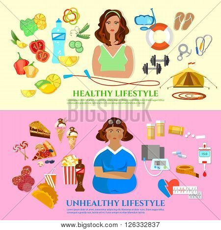 Healthy lifestyle and unhealthy lifestyle banner diet and fitness fat and slim girl fast food and obesity problem