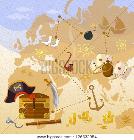 Pirate treasure map sea adventures treasure chest